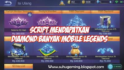 Script mendapatkan Diamond gratis Melimpah Ruah Mobile Legends