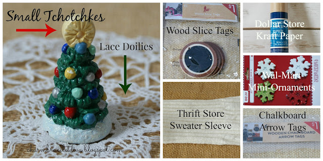 ceramic Christmas tree sweater sleeve chalk tags kraft paper mini ornaments
