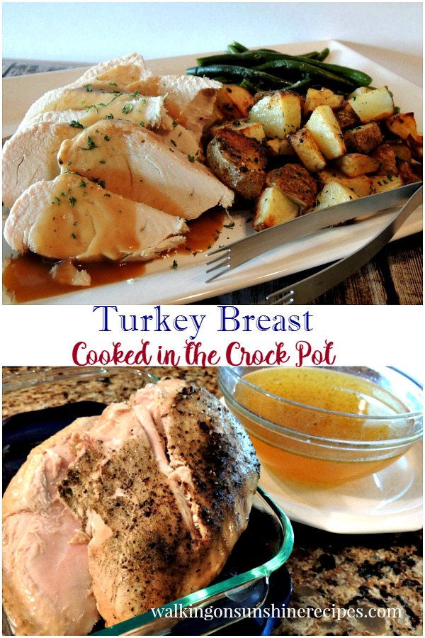 Turkey cooked in the crock pot with the broth from Walking on Sunshine Recipes