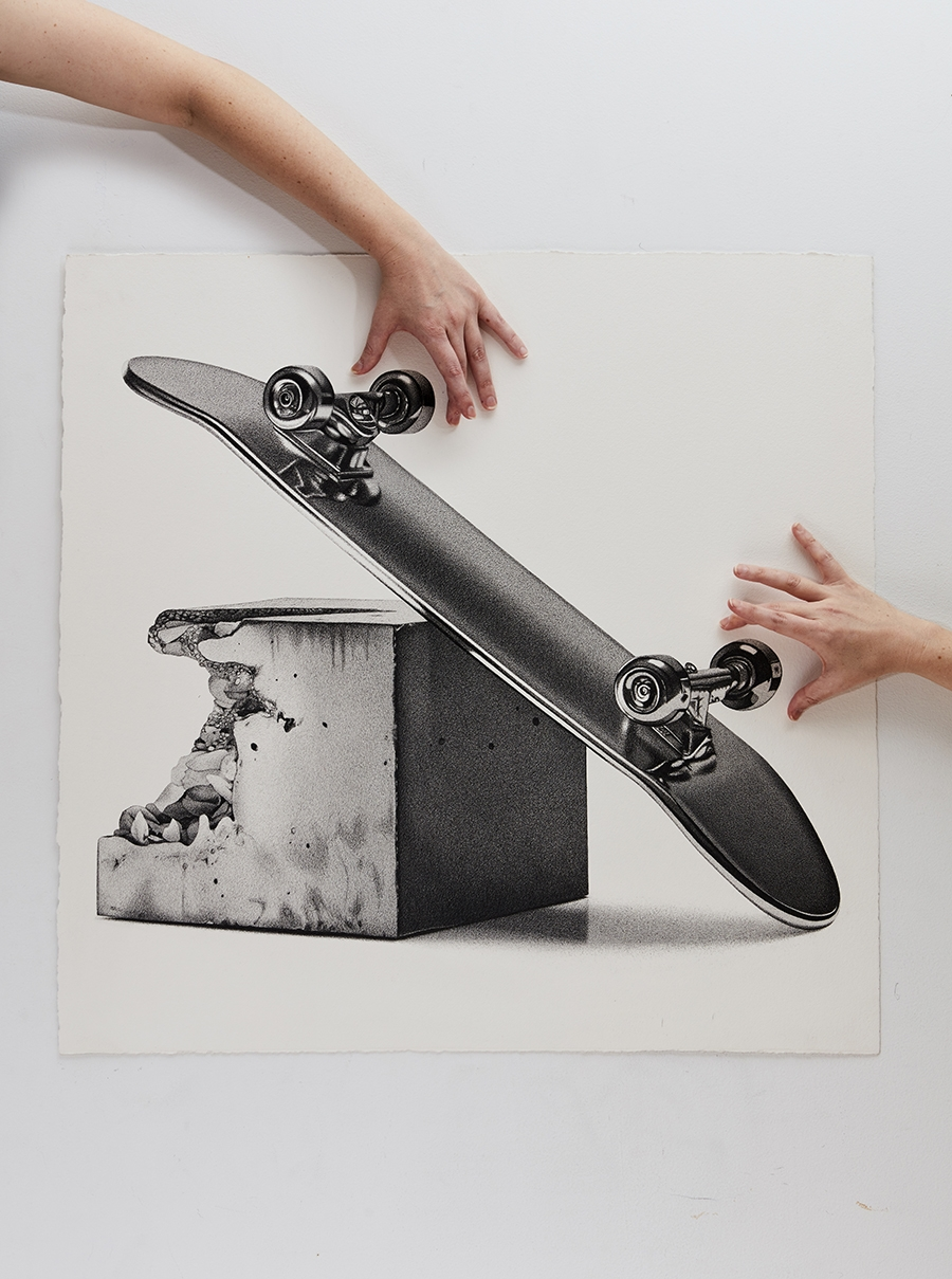 12-Skateboard-CJ-Hendry-Bronzed-Trophy-Series-Drawings-that-look-like-Photographs-www-designstack-co