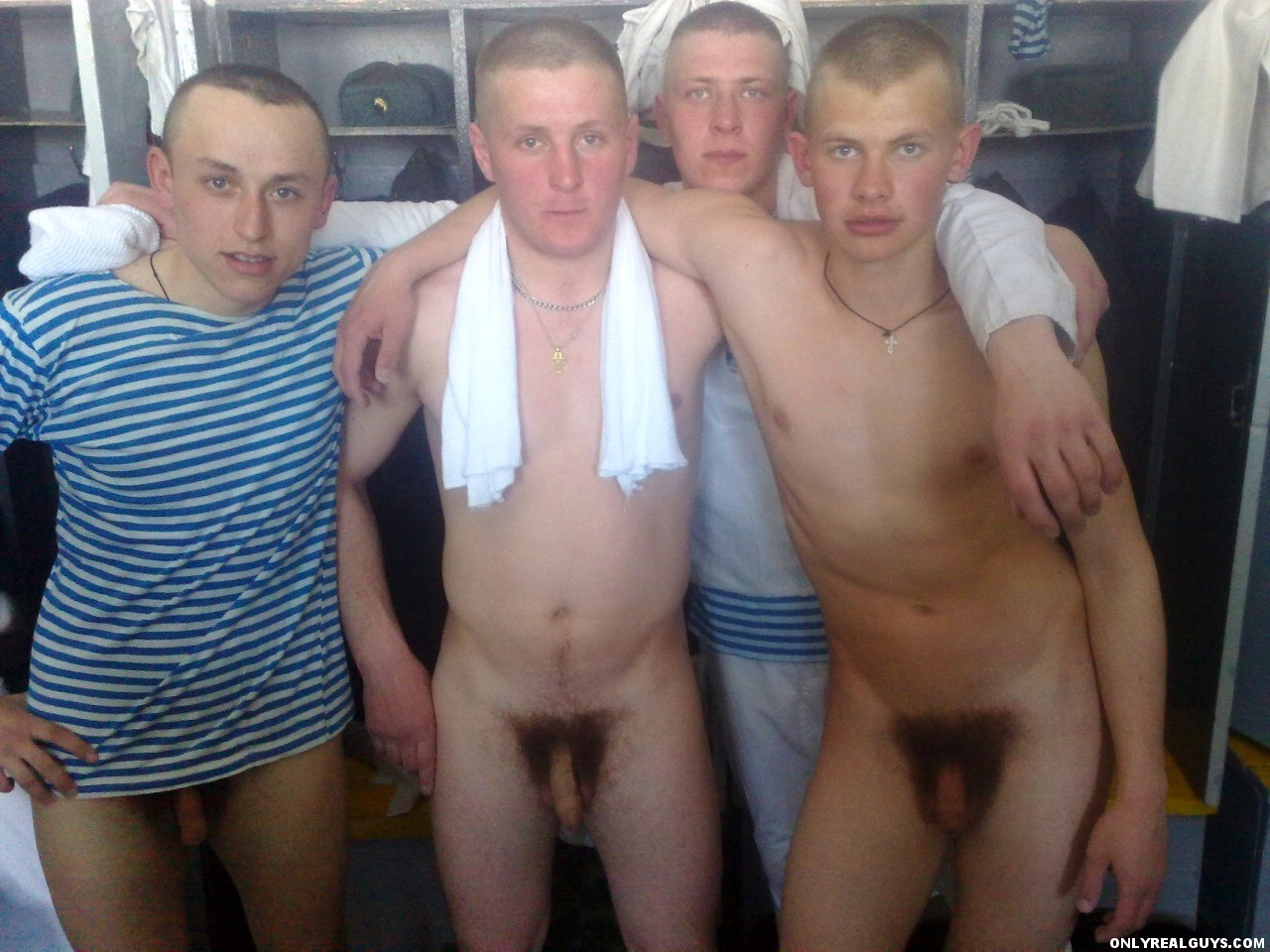 Good looking naked army men and young