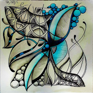 Joey's Weekly Zentangle Challenge #200 with Patterns: Exeter, Toodles, Tipple - upsidedown tile