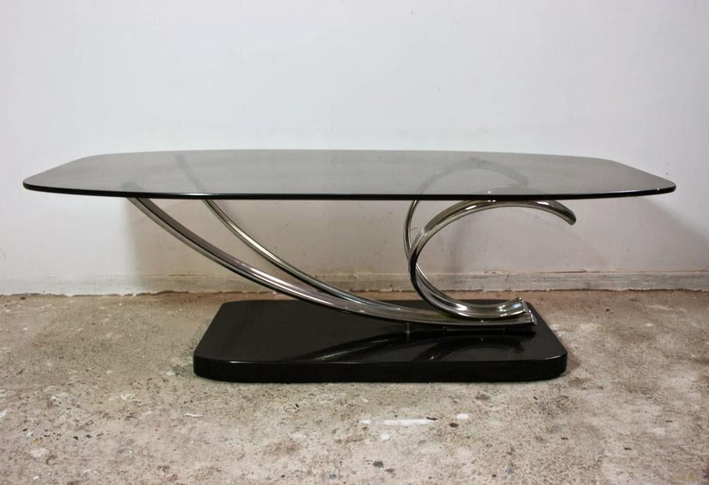 El rastronauta mesa de centro de vidrio y acero cromado 70s - Mesas de centro de vidrio ...