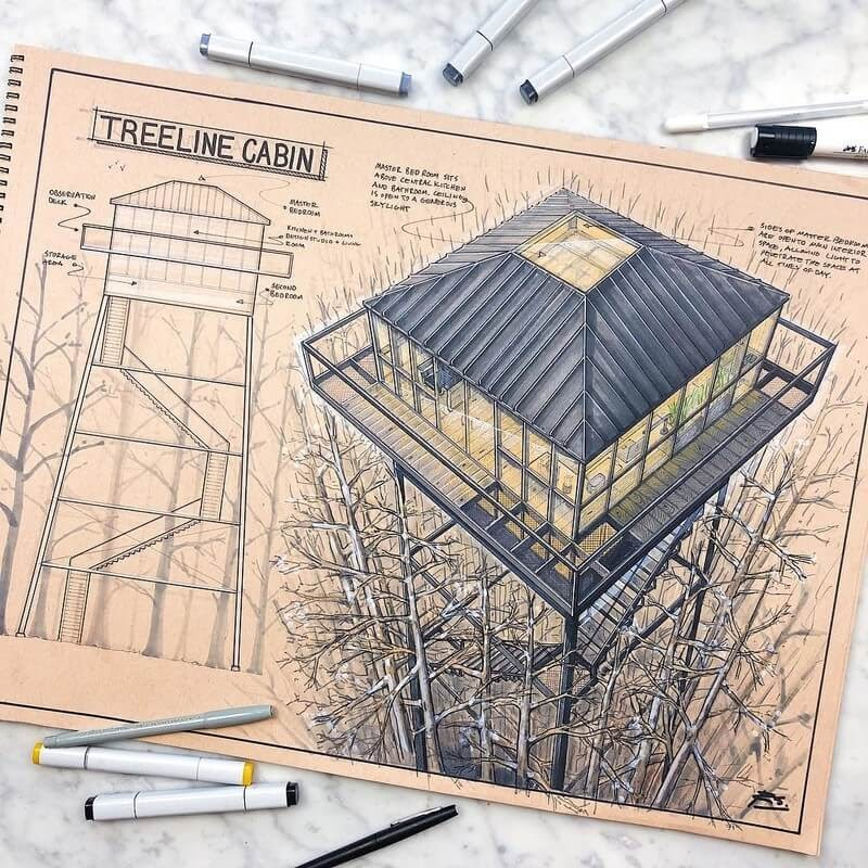 03-Treeline-cabin-Reid-Schlegel-Colored-Architectural-Concept-Drawings-www-designstack-co