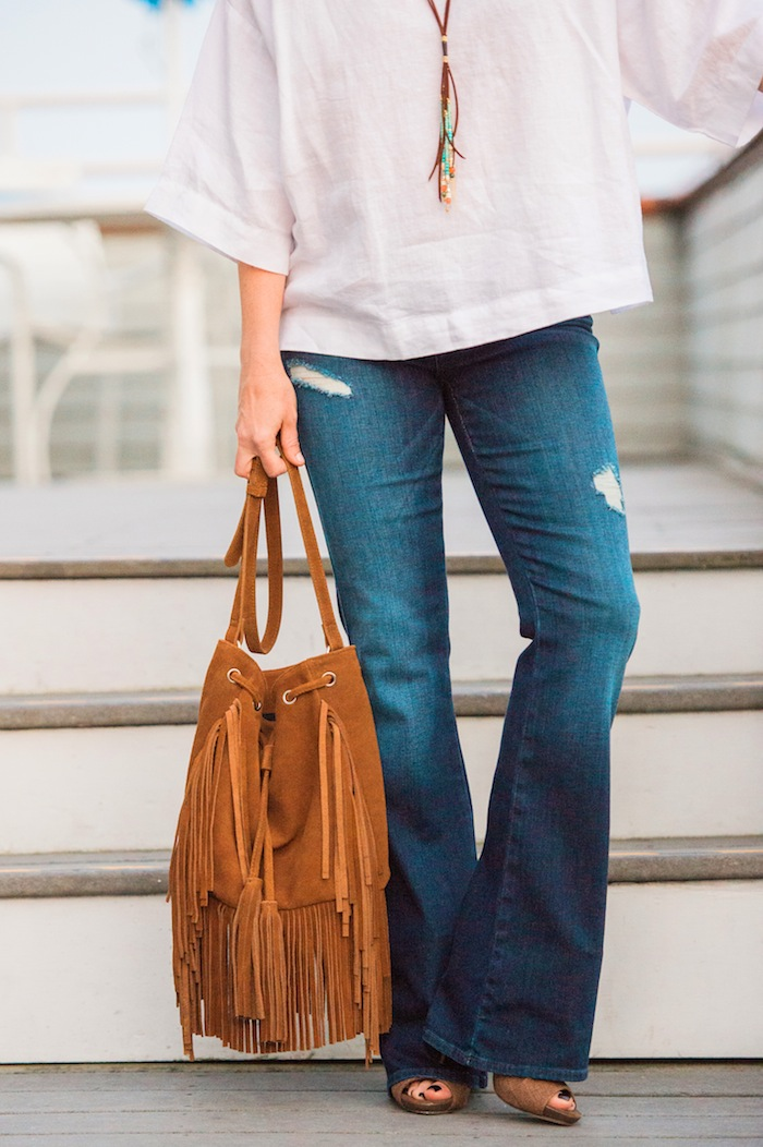 Fringe Suede Bucket Bag