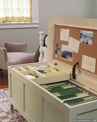 Home office organizing tips and storage hacks. Hide your filing cabinet inside a chest when not in use by creating a Mini Office in a Chest. Not only does this allow you to hide important papers out of view in a room that you might not want to look like an office, it can also double as extra seating by throwing a few throw pillows on top.