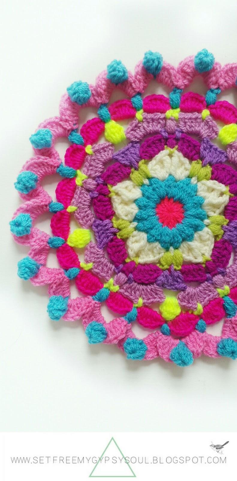 free crochet pattern mandala doily doilies hippie boho peggy pink flower