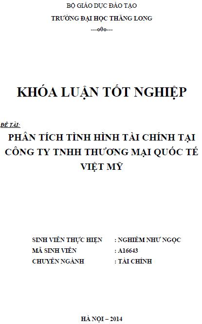 Phân tích tình hình tài chính tại Công ty TNHH Thương mại Quốc tế Việt Mỹ