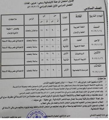 جدول امتحانات الشهادة الابتدائية التيرم الاول 2017 محافظة بنى سويف Beni Suef