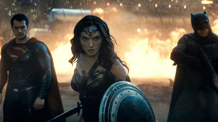 Superman, Wonder Woman, and Batman fight Doomsday in Batman v. Superman: Dawn of Justice.