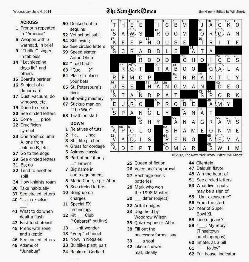 The New York Times Crossword in Gothic: 06.04.14 — Word Games