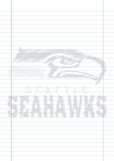 Folha Papel Pautado Seattle Seahawks rabiscado PDF para imprimir na folha A4