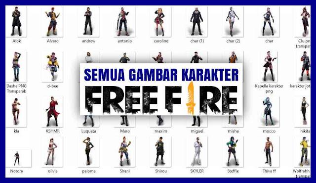 gambar semua karakter ff keren. foto foto karakter ff, mentahan gambar karakter FF, Free Fire