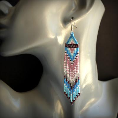 купить длинные бисерные серьги необычные интернет магазин этнических украшений
