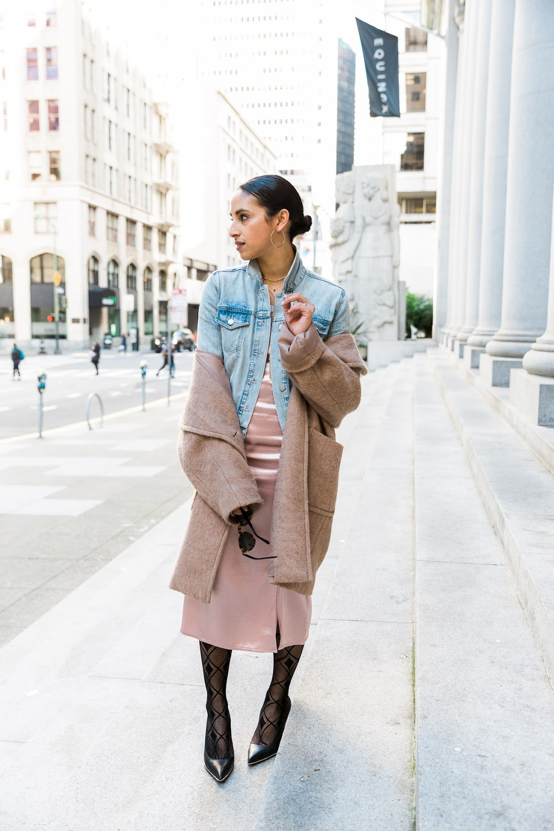 camel oversized coat, oversized camel coat, hm camel coat, pink satin dress, Charlotte Russe satin dress, light wash denim, slick back bun, spring style, how to style a slip dress