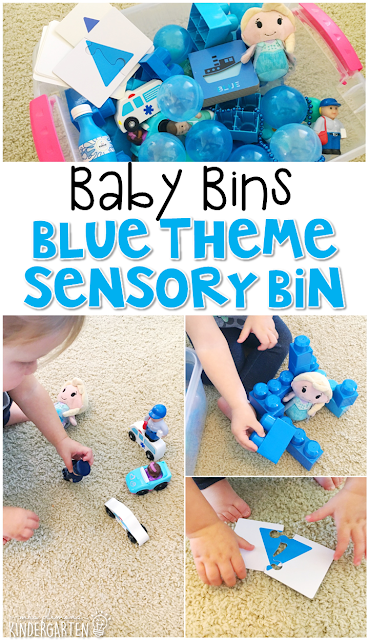 This blue themed sensory bin is great for learning colors and is completely baby safe. These Baby Bin plans are perfect for learning with little ones between 12-24 months old.