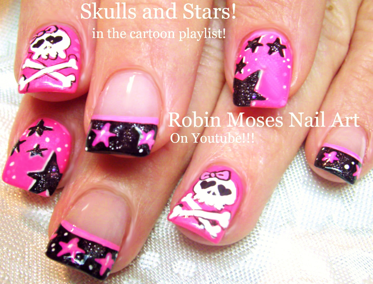 Nail Art By Robin Moses Lots Of Little Trendy Skull Nail Art Design