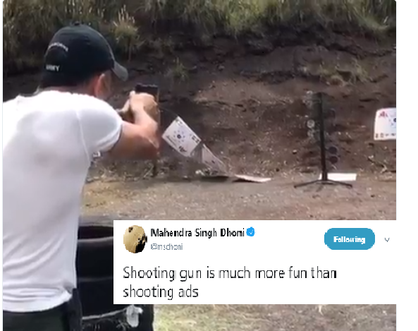 Watch Video: Dhoni says Shooting with a gun is more fun than shooting ads.