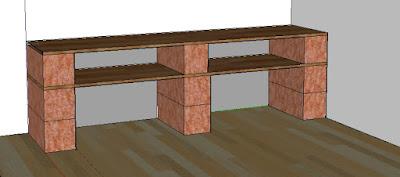 plan etagère brique bois