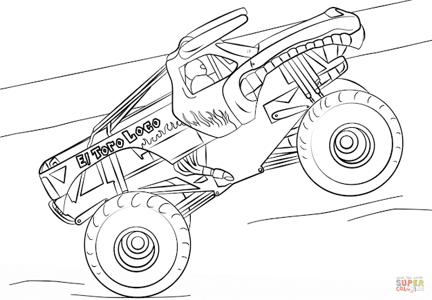 Click The El Toro Loco Monster Truck Coloring Pages To View Printable  Version Or Color It Online Patible With Ipad And Android Tablets