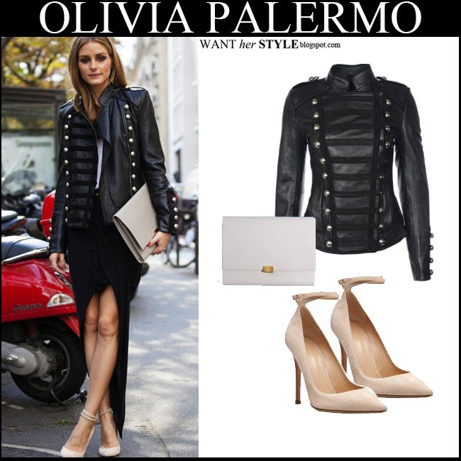 1e50f889e091 WHAT SHE WORE  Olivia Palermo in black leather jacket with grey ...