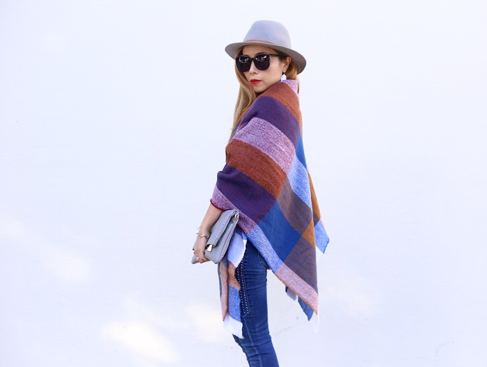 ASOS blanket scarf, Kendra Scott earrings, Gorjana necklace, gorjana bracelet, GiGi New York carly clutch, justfab jeans, christian louboutin heels, san francisco, street style, fashion blog, fall fashion, hat attack ny, karen walker super duper sunglasses