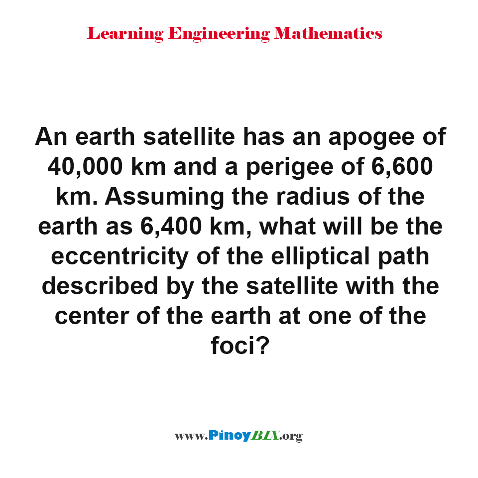 What will be the eccentricity of the elliptical path described by the satellite?