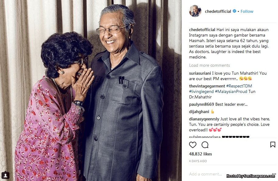 Akaun Rasmi Instagram Tun Mahathir @Chedetofficial