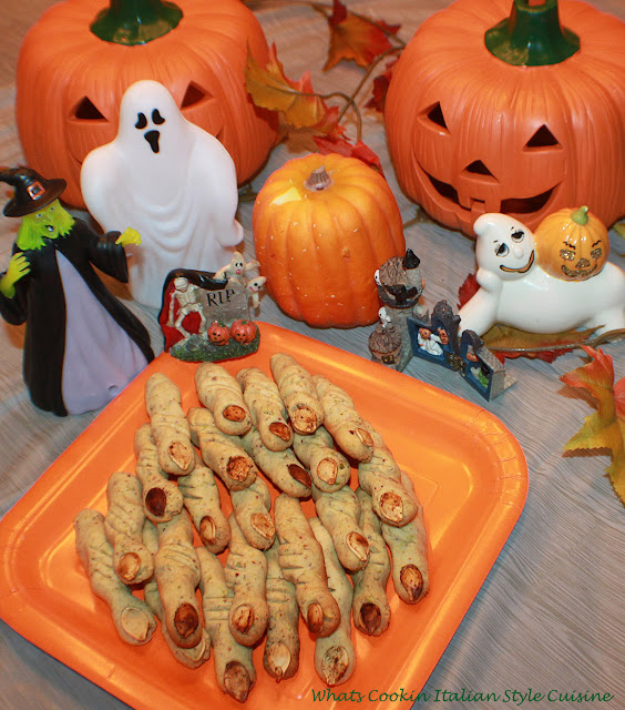 Halloween Pistachio Witches Finger Cookies