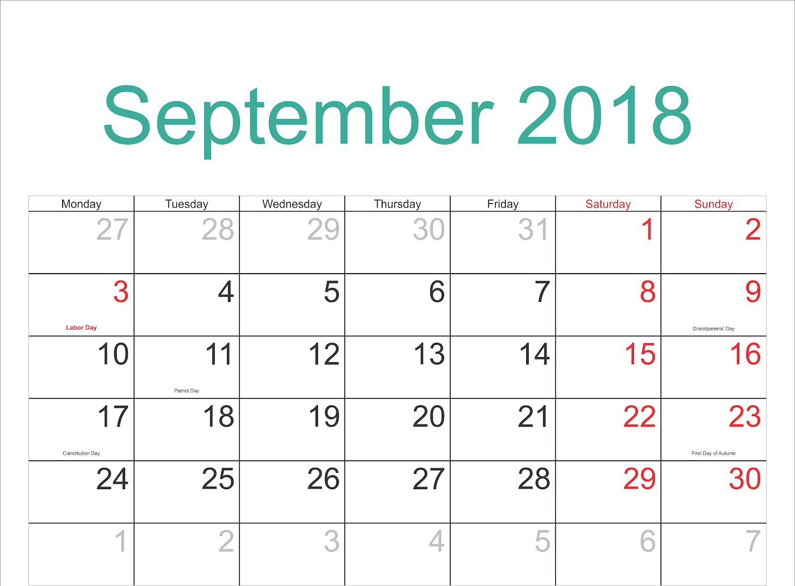 Holiday Calendar 2018 September