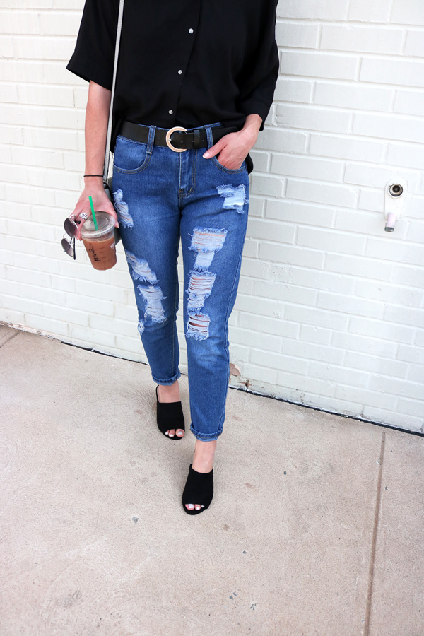 ripped blue jeans, black mules, spring, casual, minimal