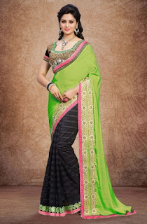 green-black-crepe-saree
