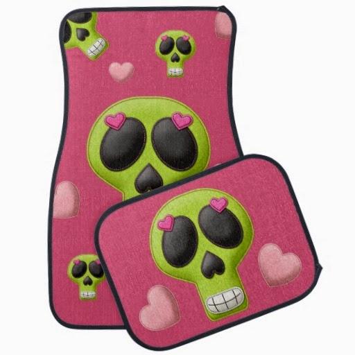 girly pink green skulls car mat set