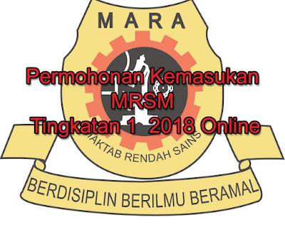 Permohonan Kemasukan MRSM Tingkatan 1  2018 Online