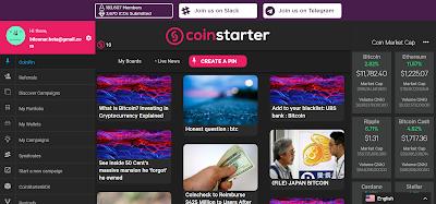 مشروع coinstarter الإسثمار و الحصول على 10 TOKENS  على الأقل مجانا