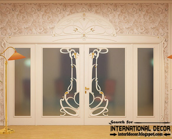 luxury interior doors for classic interior, Italian entrance door with glass