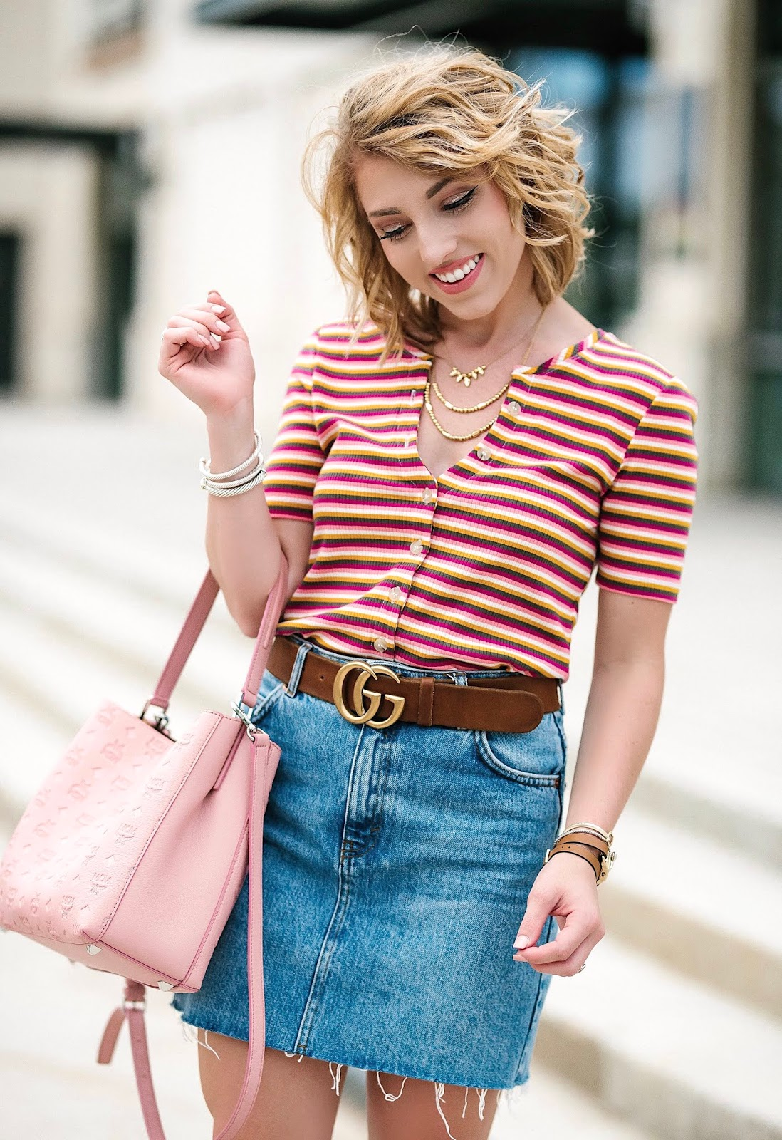 The Perfect Transition to Fall Look: Denim Skirt + Striped Sweater and Mules (All under $100) - Something Delightful Blog