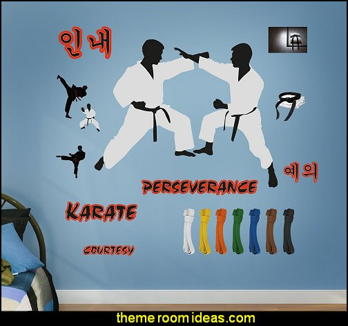 Karate Decals  martial arts theme bedrooms - Karate bedroom ideas - Martial Arts bedroom decor - Martial Arts Bedding - Kung Fu Fighting - Oriental style decorating Asian themed - taekwondo