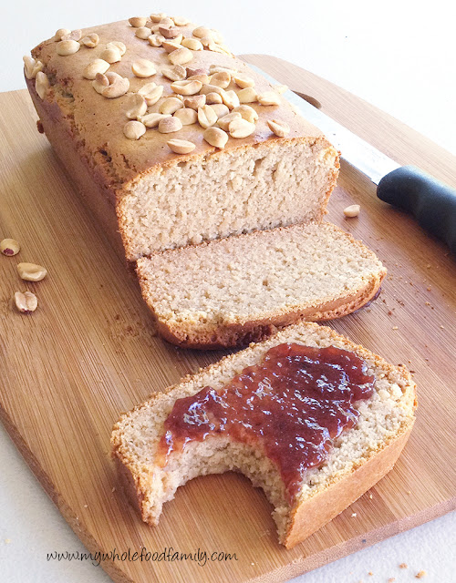Peanut butter loaf with strawberry jam - gluten and dairy free - from www.mywholefoodfamily.com