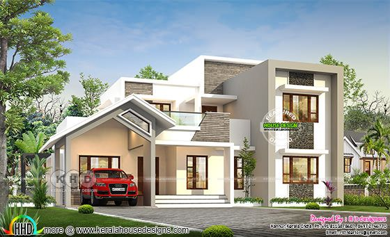 Front elevation of mixed roof contemporary house rendering