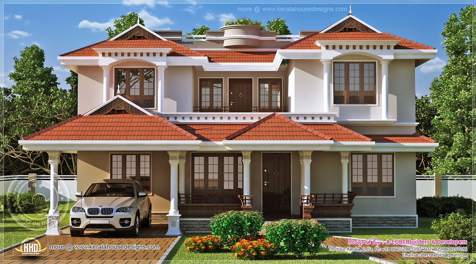 Traditional kerala model beautiful home exterior with car for Beautiful houses pictures in kerala