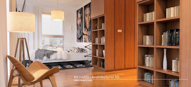 Render interior dormitorio moderno