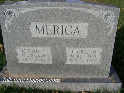 Tombstone of Cletus and Floral S. Merica