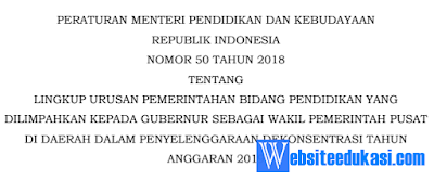 Kementerian Pendidikan dan Kebudayaan juga telah menerbitkan Permendikbud Nomor  Permendikbud Nomor 50 Tahun 2019
