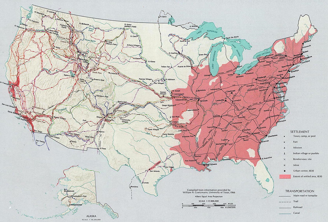 Settled areas of the U.S. (1830)