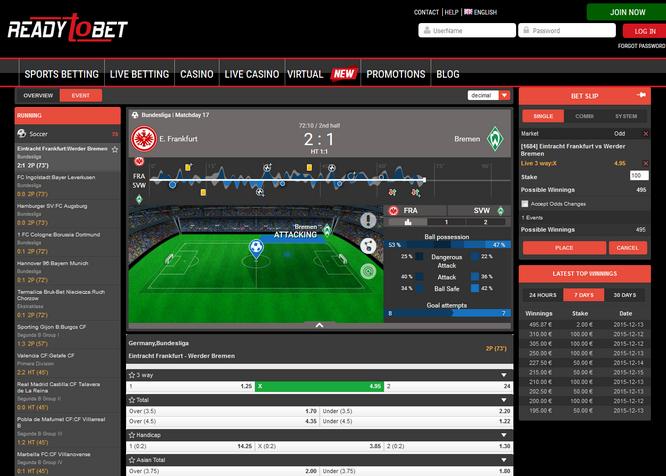 Readytobet Sportsbook Screenshot