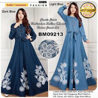 Bursa Grosir Busana Muslim Tanah Abang  BM09213 Gamis Bahan Jeans ... 28dc83933d