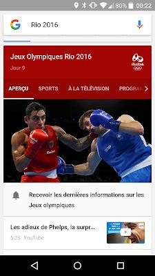 le knowledge graph et les videos youtube - jeux olympiques rio 2016