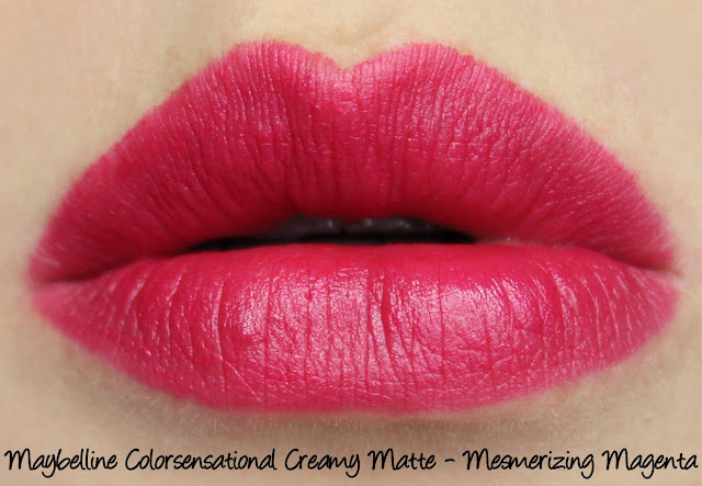 Maybelline Colorsensational Creamy Matte Lipstick - Mesmerizing Magenta Swatches & Review
