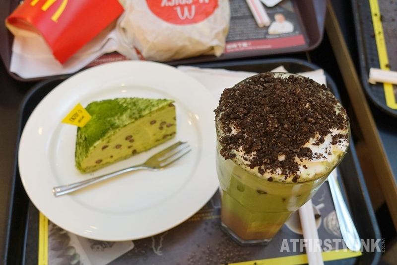 McDonalds Hong Kong McCafe Iced Matcha Chocolate x OREO cookies red bean matcha layer cake